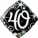 Luftballon aus Folie, Birthday Elegant 40, zum 40. Geburtstag, mit Helium