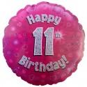 Luftballon aus Folie, Happy 11th Birthday Pink  zum 11. Geburtstag