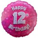 Luftballon aus Folie, Happy 12th Birthday Pink  zum 12. Geburtstag
