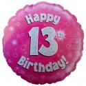Luftballon aus Folie, Happy 13th Birthday Pink  zum 13. Geburtstag