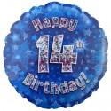 Luftballon aus Folie, Happy 14th Birthday Blue  zum 14. Geburtstag