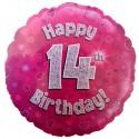 Luftballon aus Folie, Happy 14th Birthday Pink  zum 14. Geburtstag