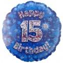 Luftballon aus Folie, Happy 15th Birthday Blue  zum 15. Geburtstag