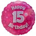 Luftballon aus Folie mit Helium, 15. Geburtstag, Pink, Mädchen