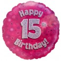 Luftballon aus Folie, Happy 15th Birthday Pink  zum 15. Geburtstag