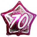 Luftballon aus Folie, Happy Birthday Pink Star 70, zum 70. Geburtstag, mit Helium