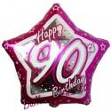 Luftballon aus Folie, Happy Birthday Pink Star 90, zum 90. Geburtstag, mit Helium