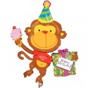Birthday Monkey Folienballon, Happy Birthday Affe, mit Helium zum Geburtstag