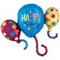 Happy Birthday, Cluster Folienballon ohne Helium zum Geburtstag, Balloon Bash