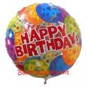 Happy Birthday Balloons, großer Folienballon, Rundballon, transparent, ohne Helium zum Geburtstag