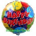 Geburtstags-Luftballon Happy Birthday Balloons & Confetti, inklusive Helium