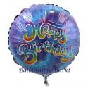 Geburtstags-Luftballon Happy Birthday Batikmuster, inklusive Helium