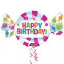 Happy Birthday, Bonbon-Folienballon, Candy, Shape, ohne Helium zum Geburtstag