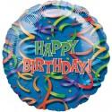 Celebration Streamers Happy Birthday, Jumbo, Folienballon mit Helium zum Geburtstag