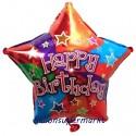 Geburtstags-Luftballon Happy Birthday Colors Stern, bunt, inklusive Helium