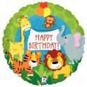 Geburtstags-Luftballon Happy Birthday Jungle animals, Holographic, inklusive Helium