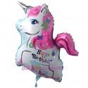 Happy Birthday, Einhorn-Folienballon,  Shape, ohne Helium zum Geburtstag
