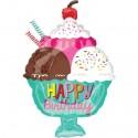 Happy Birthday, Eisbecher mit Sahne, Folienballon mit Helium zum Geburtstag