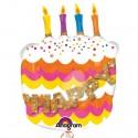 Happy Birthday Folienballon, Geburtstagstorte, Luftballon ohne Helium-Ballongas