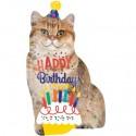 Katze Happy Birthday, Folienballon mit Helium zum Geburtstag