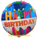 Geburtstags-Luftballon Happy Birthday Geburtstagskerzen, inklusive Helium