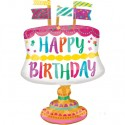 Happy Birthday Folienballon, Geburtstagskuchen mit Fähnchen, Luftballon ohne Helium-Ballongas