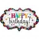 Happy Birthday Marquee Folienballon, Shape, ohne Helium zum Geburtstag