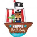 Happy Birthday, Piratenschiff Folienballon, mit Helium zum Geburtstag