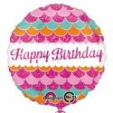 Geburtstags-Luftballon Happy Birthday, Rosa, ohne Helium