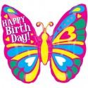 Happy Birthday Folienballon, Schmetterling, mit Helium zum Geburtstag