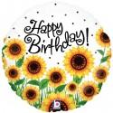 Geburtstags-Luftballon Happy Birthday Sonnenblumen, ohne Helium