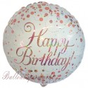 Geburtstags-Luftballon Sparkling Fizz Birthday, Rosegold, ohne Helium