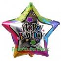 Geburtstags-Luftballon Happy Birthday Stern, bunt, inklusive Helium