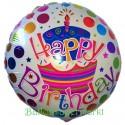 Geburtstags-Luftballon Happy Birthday Torte und Punkte, ohne Helium