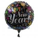Silvester-Luftballon aus Folie, Happy New Year, Celebrate, holografisch, mit Helium-Ballongas gefüllt