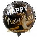 Silvester-Luftballon aus Folie, Happy New Year, Champagner, mit Helium-Ballongas gefüllt
