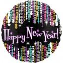 Silvester-Luftballon aus Folie, Happy New Year Glamour, ohne Helium-Ballongas