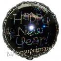 Silvester-Luftballon aus Folie, Happy New Year, Feuerwerk, mit Helium gefüllt