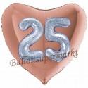 Herzluftballon Jumbo 3D, holografisch Silber und Rosegold  zum 25. Geburtstag, Jumbo-Folienballon mit Ballongas