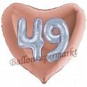 Herzluftballon Jumbo 3D, holografisch Silber und Rosegold  zum 49. Geburtstag, Jumbo-Folienballon mit Ballongas