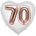 Luftballon Herz, Jumbo 3D, Rosegold und Weiß zum 70. Geburtstag, Jumbo-Folienballon mit Ballongas