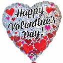 Happy Valentine's Day, holografischer Herzluftballon mit kleinen Herzen, inklusive Helium