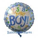 Luftballon zu Geburt, Taufe, Babyparty, It's a Baby Boy, ohne Helium-Ballongas