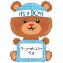 It's a Boy Bärchen, Luftballon mit Stift zum Beschriften zur Geburt eines Jungen, Ballon mit Helium