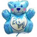 Luftballon aus Folie, It's a Boy Bär, Es ist ein Junge, ohne Helium