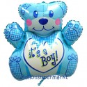 It's a Boy Bärchen Luftballon, Es ist ein Junge, Ballon mit Helium-Ballongas