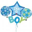 It's a Boy Cluster, großer Folienballon zu Geburt, Taufe, Babyparty
