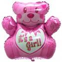 Luftballon aus Folie, It's a Girl Bär, Es ist ein Mädchen, Ballon mit Helium-Ballongas