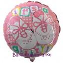 Luftballon zu Geburt und Taufe eines Mädchens, It's a Girl Babyschuhe, Ballon mit Ballongas Helium