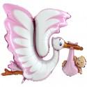 Großer Luftballon aus Folie, Klapperstorch, rosa, Mädchen, ohne Helium